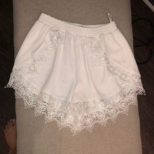 White Lace Trimmed Shorts